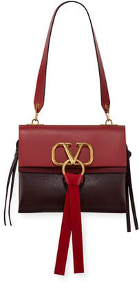 Valentino V-Ring Small Colorblock Leather Shoulder Bag
