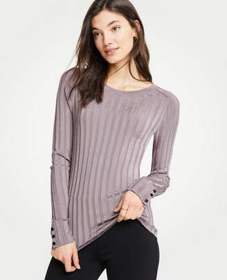 Ann Taylor Ribbed Button Cuff Sweater