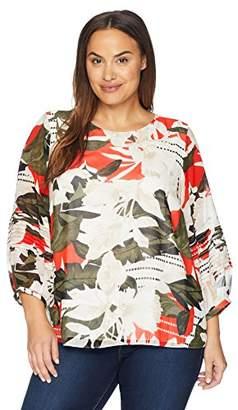 Calvin Klein Women's Plus Size Bubble Pleated Sleeve