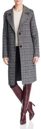 Bernardo Contrast Collar Plaid Coat