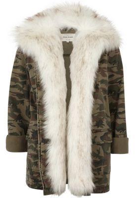 River IslandRiver Island Womens Khaki camo print faux fur lined army jacket