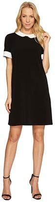 CeCe Short Sleeve Pleat Collar Mix Media Knit Dress