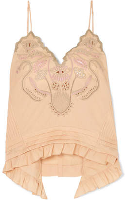 Chloé Embroidered Cotton-voile Camisole - Beige