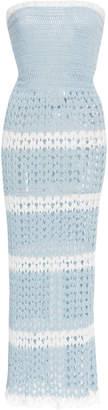 Rodarte Stripe Hand-Crocheted Open-Knit Tube Dress