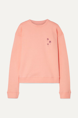 The Elder Statesman Printed Cotton-fleece Sweatshirt - Peach