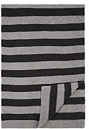 The Bonnie Mob Rufus Bunny-Intarsia-Knit Baby Blanket-Gray