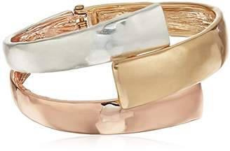 Robert Lee Morris Tricolore Tri-Tonal Bypass Bangle Bracelet