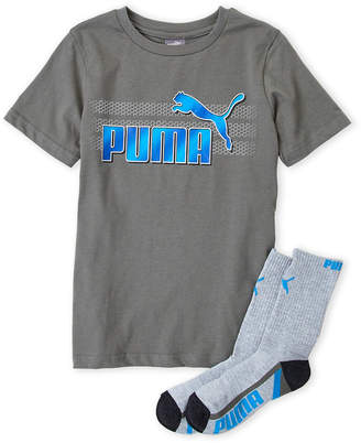 Puma Boys 8-20) Two-Piece Logo Tee & Crew Socks Set