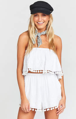 Show Me Your Mumu Laney Pom Pom Shorts ~ White with white embroidery