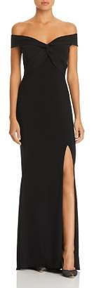 Aqua Off-the-Shoulder Twist Front Gown - 100% Exclusive