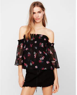 Express floral off the shoulder smocked bodice blouse