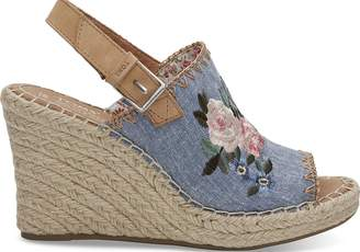 Toms Floral Embroidered Chambray Women's Monica Wedges