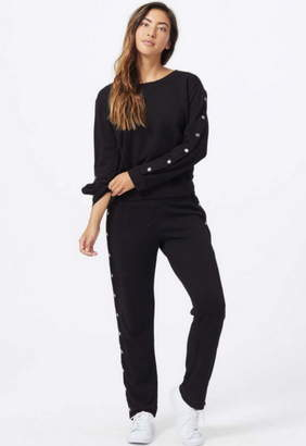Monrow Crew Neck Sweatshirt With Tear Away Sleeves