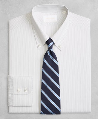 Brooks Brothers Golden Fleece Milano Slim-Fit Dress Shirt, Button-Down Collar Black Micro-Stripe