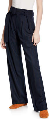 Vince Belted Wide-Leg Pinstripe Pants