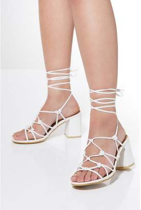 Quiz White Lace Up Heeled Sandals