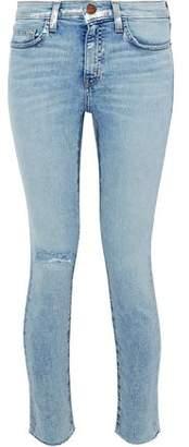 Current/Elliott Distressed Metallic Coated Mid-Rise Skinny Jeans