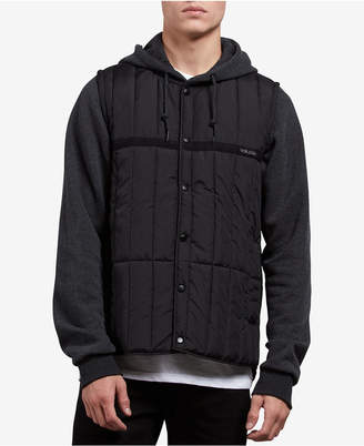 Volcom Men's Stripester Layered-Look Hooded Puffer Jacket