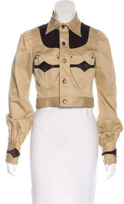 DSQUARED2 Ponyhair-Accented Button-Up Jacket