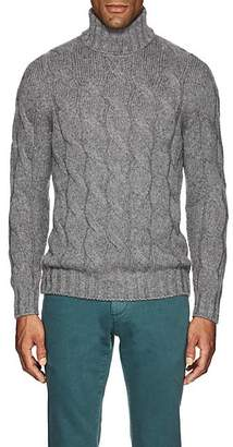 Barneys New York Men's Cable-Knit Wool-Mohair Turtleneck Sweater - Light Gray