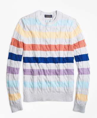 Brooks Brothers Supima Cotton Multi-Stripe Cable Crewneck Sweater