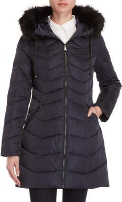 T Tahari Gwen Faux Fur Trim Longline Coat