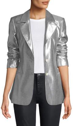 Diane von Furstenberg Metallic Button-Front Blazer