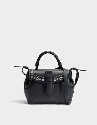 Lancel Charlie Handbag S with Eyelets in Black Metalised Goat Leather