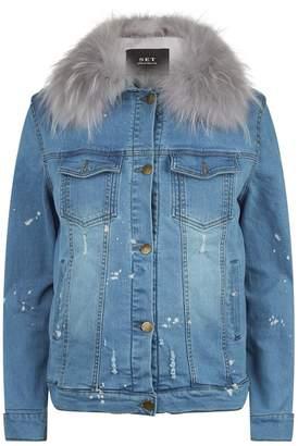 SET Denim Jacket with Fur Gilet