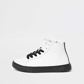 River Island Boys White textured high top trainers