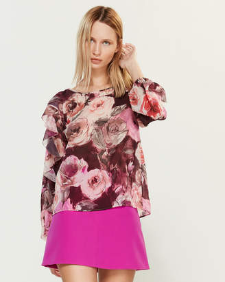 Blugirl Floral Ruffle Sleeve Blouse