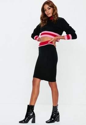 Missguided Black Colourblock Knit Midi Skirt