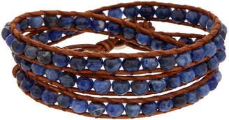 Chan Luu Silver Sodalite Leather Wrap Bracelet