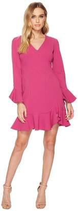 Donna Morgan Long Sleeve Crepe Dress w/ Ruffle Hem and V-Neck Women's Dress
