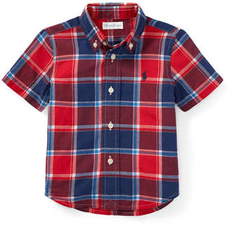 Ralph Lauren Short-Sleeve Collared Plaid Shirt, Size 9-24 Months
