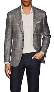 Canali Men's Checked Wool-Blend Two-Button Sportcoat-Beige, Tan