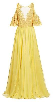 ZUHAIR MURAD Women's Hibiscus Embroidered Cold-Shoulder A-Line Gown