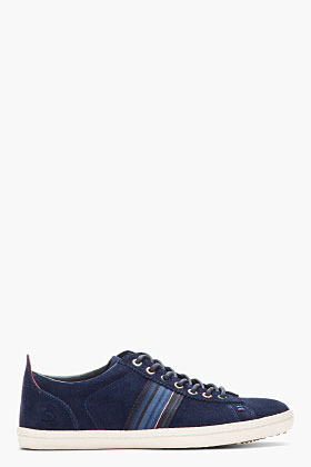 Paul Smith Navy Suede Osmo Galaxy Striped Sneakers