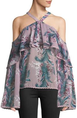 Glamorous Halter-Neck Cold-Shoulder Floral Blouse