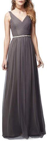 Monique Lhuillier Bridesmaids Pleated Tulle Gown