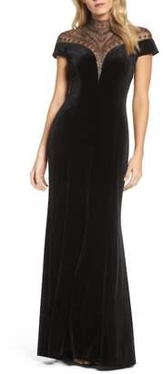Tadashi Shoji Embellished Deep V-Neck Velvet Gown