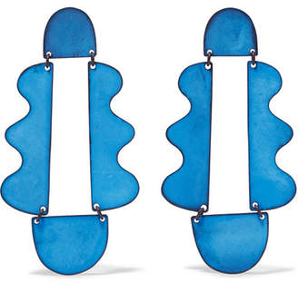 Matisse Annie Costello Brown Oxidized Earrings - Blue