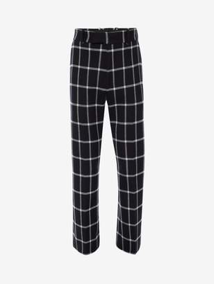 Alexander McQueen Windowpane Check Tailored Kickback Pants