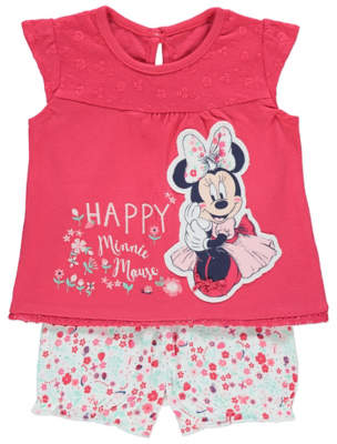 Disney George Minnie Mouse Floral Top and Shorts Outfit