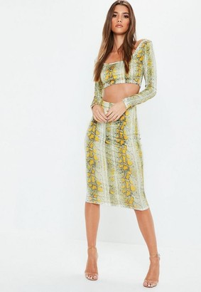 Missguided Cream Snake Printed Midi Skirt
