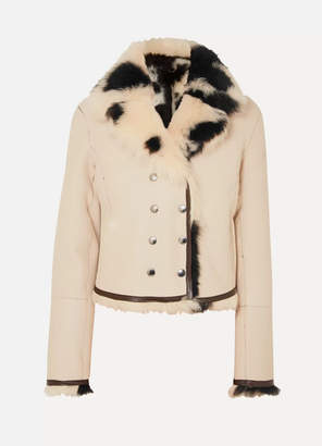 Chloé Reversible Double-breasted Shearling Jacket - Ivory