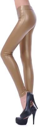 Celine lin Women's Mid Waist PU Leather Stretch Pants Sexy Leggings, M