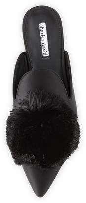 Charles David Wella Satin Pompom Mule
