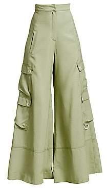 Jonathan Simkhai Women's Lux Twill Wide-Leg Cargo Pants
