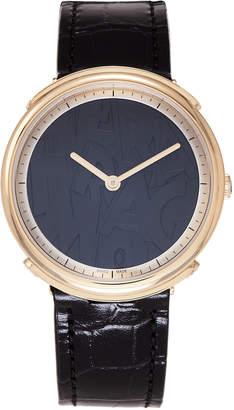 Salvatore Ferragamo Gold-Tone & Black Croc-Embossed Watch